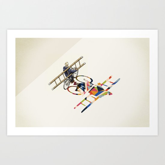 Walking Shadow, Bicyclist Art Print