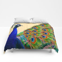BLUE PEACOCK CREAM COLOR ART Comforters