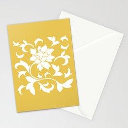 Oriental Flower - Mustard Yellow Stationery Cards
