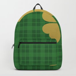 Green checkered pattern with clover leaf illustration Backpack