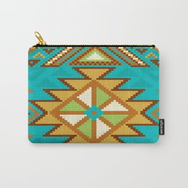Native Aztec Tribal Turquoise Rug Pattern Carry-All Pouch