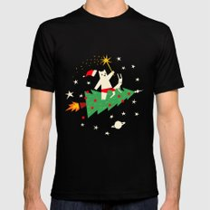 Space christmas Black MEDIUM Mens Fitted Tee