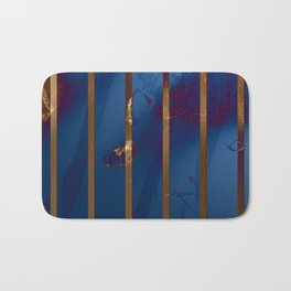 Electric Blue Abstract with Gold Stripes Badematte