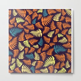 Fern Frond in Yellow and Orange Metal Print