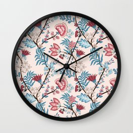 Vector illustration of a seamless floral pattern. Indian and oriental style Wall Clock