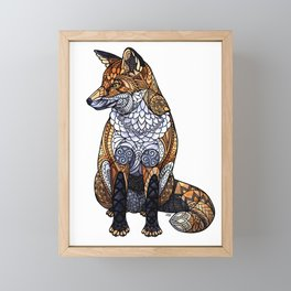 Stained Glass Fox Framed Mini Art Print
