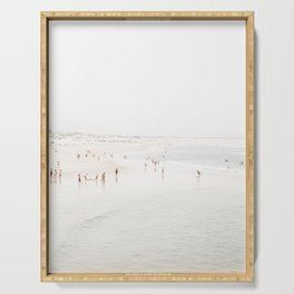 At The Beach (seven) - minimal beach series by Ingrid Beddoes Serving Tray