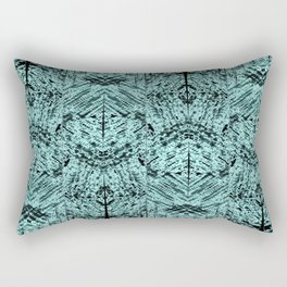 Turquoise Tribal Ethnic Repeat Mirrored Pattern Rectangular Pillow