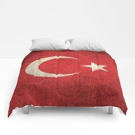 Old and Worn Distressed Vintage Flag of Turkey Comforters