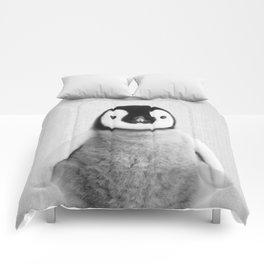 Baby Penguin - Black & White Comforters