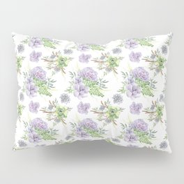Succulents Pattern Purple and Green Pillow Sham