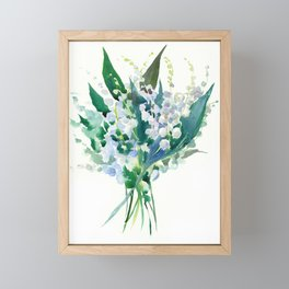 Lilies of the Valley, floral bouquet art,design spring flowers turquoise green white sky blue floral Framed Mini Art Print