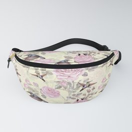 Vintage & Shabby Chic - Lush pastel roses and hummingbird pattern Fanny Pack