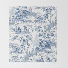 Powder Blue Chinoiserie Toile Throw Blanket