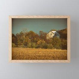 Abandoned Barn Colorized Landscape Photo - Farmhouse Rural Art Framed Mini Art Print