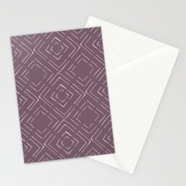 Square Purple Pattern Stationery Cards