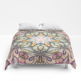vintage flowers hand drawn and  kaleidoscope mandala Comforters
