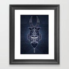 Horned Tribal Mask (color version) Framed Art Print