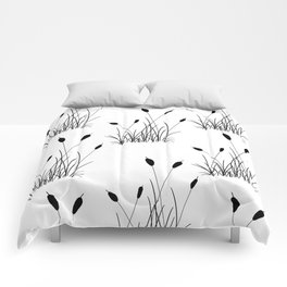 Cattail Silhouette Print Comforters