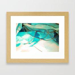 Teal on Silk Framed Art Print