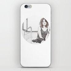 closed eyes - woman dotwork portrait iPhone & iPod Skin