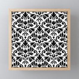 Flourish Damask Big Ptn Black on White Framed Mini Art Print