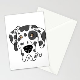 Harlequin Great Dane Face Stationery Cards
