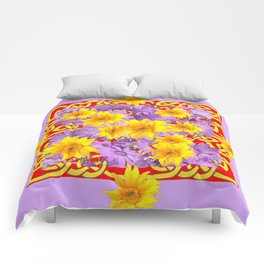 RED PURPLE YELLOW FLOWERS CELTIC ART Comforters