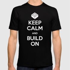 Keep Calm and Build On SMALL Mens Fitted Tee Black