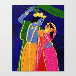 Radha & Krsna Colorful Illustration  Canvas Print