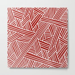 Abstract Navy Red & White Lines and Triangles Pattern Metal Print