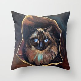 The Ragdoll Cat Is in the Bag Throw Pillow