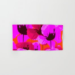 Pink And Red Poppies On A Orange Background - Summer Juicy Color Palette - Retro Mood Hand & Bath Towel