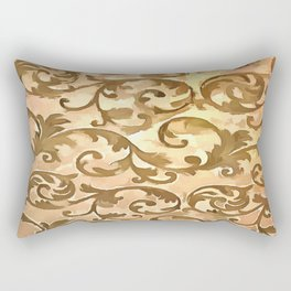 Stylized Foliage Leaves In Gold Rectangular Pillow