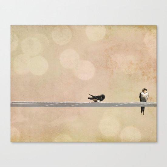 2 birds on a wire peach Canvas Print