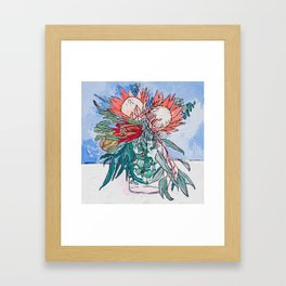 Painterly Vase of Proteas, Wattles, Banksias and Eucayptus on Blue Framed Art Print