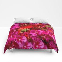 Fuchsia & Red Geraniums Floral Garden Art Comforters