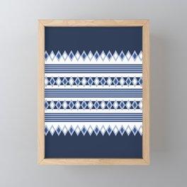 Blue stripes and diamonds pattern Framed Mini Art Print