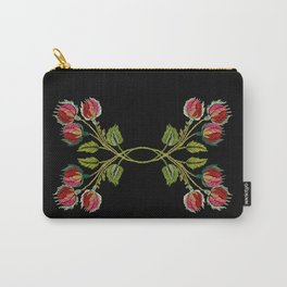 Embroidered Scandi Flowers Carry-All Pouch
