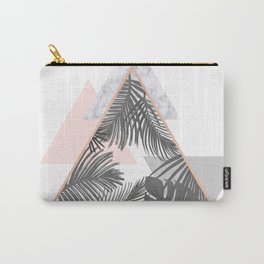 Tropical Marble Blush Pink Gray Copper Carry-All Pouch