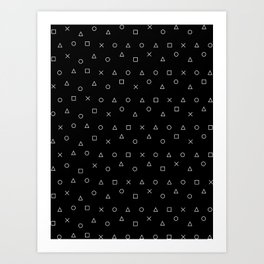 black gaming pattern - gamer design - playstation controller symbols Art Print