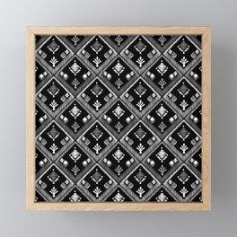 Abstract ethnic ornament. Black background 3. Framed Mini Art Print
