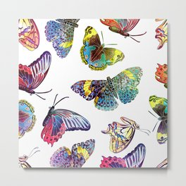 Butterfly Obsession in Blues Metal Print