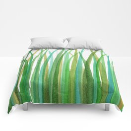 Green Grasses Comforters