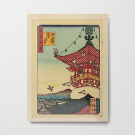 Utagawa Yoshitaki - 100 Views of Naniwa: Hall of the Wisdom King Aizen at Shôman-in Temple (1880s) Metal Print