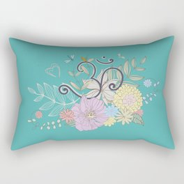 Bohemian Pastel Flower composition with  OM symbol Rectangular Pillow