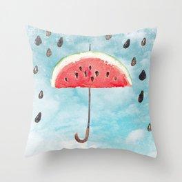 Melon - Fruity Summer Rain Throw Pillow
