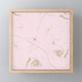 Luxe gold and blush marble image Framed Mini Art Print