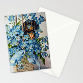 Dachshund and Forget-Me-Nots Stationery Cards