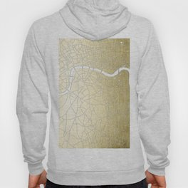 Gold on White London Street Map II Hoody